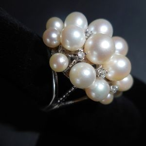 HOST PICK 14KT White Gold 20 Pearl 9 Diamond Ring